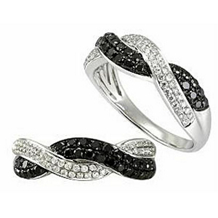 Elegant Black Diamond Braided Ring