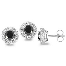 Black and White 1 Carat Diamond Earrings