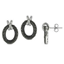Beautiful Black And White Diamond Earrings
