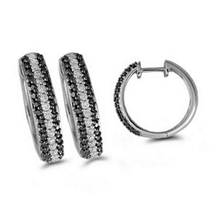 Dazzling Black and White Diamond Hoop Earrings