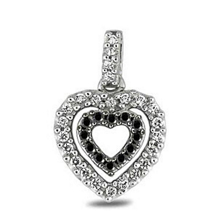 Black and White Diamond Heart Pendant
