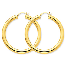 Elegant 14k Yellow Gold Lightweight Hoop Earrings