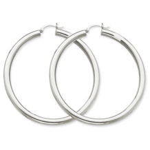 14k White Gold Hoop Earrings Tube 4mm x 60mm