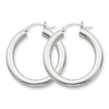 14k White Gold Hoop Earrings Tube 4mm x 30mm