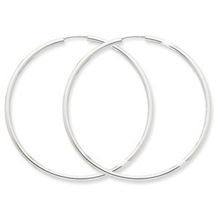 Classice 14k WG 2mm Polished Endless Hoop Earrings