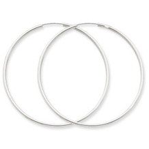 Exquisite 14k White Gold Endless Hoop Earrings