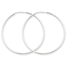 14k White Gold 1.5mm Endless Hoop Earrings