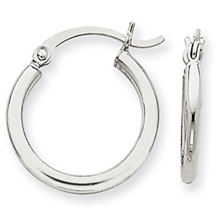2mm Round Hoop Earrings in 14k White Gold