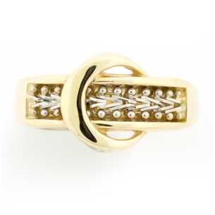 Estate Collection Stylish 14k Gold Buckle Ring