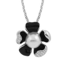 Belle Etoile Pearl Collection Daisy Black Pendant