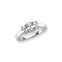 3/4 Carat Oval Cut Three Stone Diamond Ring