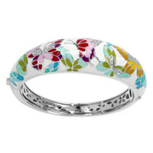 Belle Etoile Butterfly Kisses White Enamel Bangle