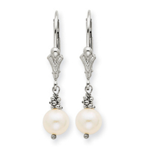 14k White Gold Cultured Pearl Leverback Earrings
