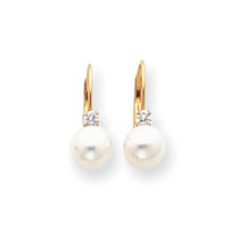 14k 6mm Pearl AA diamond Leverback Earrings
