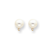 14k 7mm Pearl AA Diamond Earrings