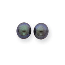 14k 7.5-8mm Black Round Cultured Pearl Stud Earrings