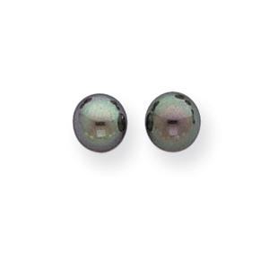 14k 6-6.5 Black Round Cultured Pearl Stud Earrings
