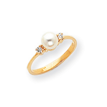 14k 5mm Pearl Diamond Ring