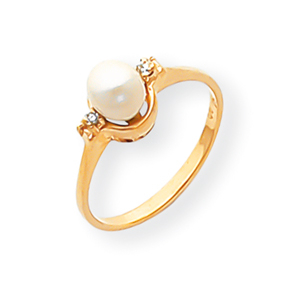 14k Pearl Diamond Pearl Ring