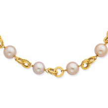 Pink Cultured Pearl and Texutred Link Necklace