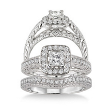 14K White Gold 7/8 Carat Diamond Wedding Set