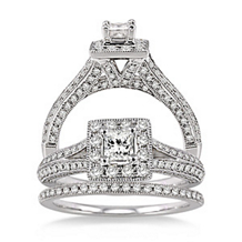Pristine 1 Carat Diamond Wedding Set