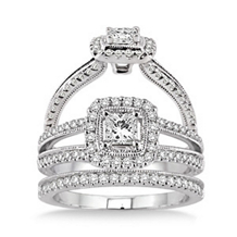 Princess Cut 7/8 Carat Diamond Wedding Set