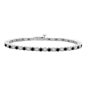 5 Carat Black and White Pronged Diamond Bracelet