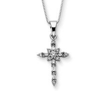 1/4 Carat Diamond Cross Pendant 14k White Gold