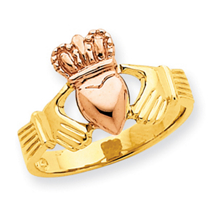 14k Two Tone Polished Claddagh Ring