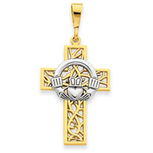 14k Two Tone Claddagh Cross Pendant