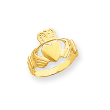 14k Yellow Gold Ladies Claddagh Ring