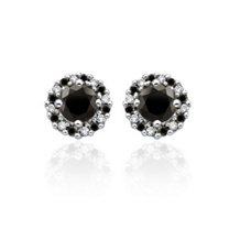 1 Carat Black and White Diamond Earrings