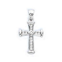 1/4 Carat Diamond Cross Pendant 10k White gold