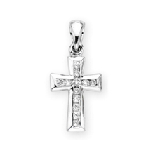 1/4 Carat Diamond Cross in 10k White Gold