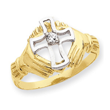 14k Rhodium Claddagh w/ CZ Cross Ring