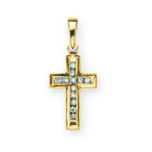 1/2 Carat Diamond Cross Pendant 10k Yellow Gold