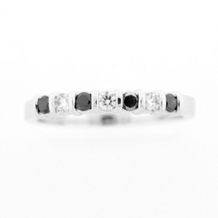14k White Gold Black Diamond Anniversary Band