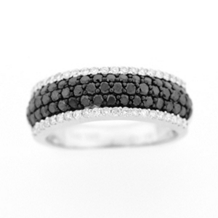 Black Diamond Anniversary Band in 14k White Gold