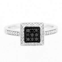 14k White Gold Black Diamond Cluster Ring