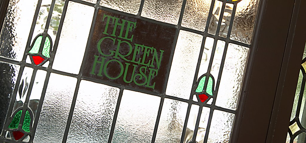 The Greenhouse Stained Glass Sign Straight On