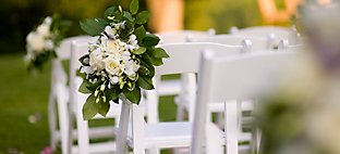 Outdoor Wedding - Chairs with Flowers