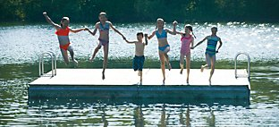 Kids Jumping from the Raft at Sports Core