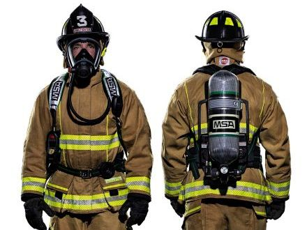 Front and back view of a firefighter wearing an SCBA