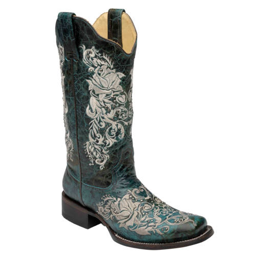 Murdoch s corral women turquoise embroidered roses boot
