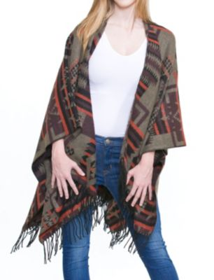 Red native print poncho