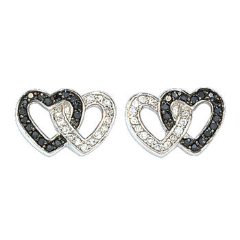 Montana Silversmiths - Women's Black Crystal Double Heart Earrings