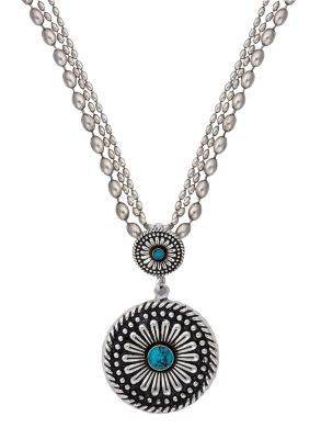 Desert Mesa Flower Drop Pendant Necklace