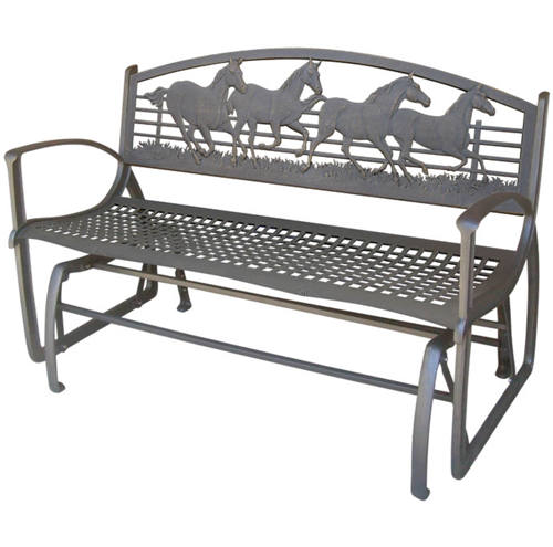 Murdoch 39 S Painted Sky Designs Cast Iron Running Horse Glider Bench
