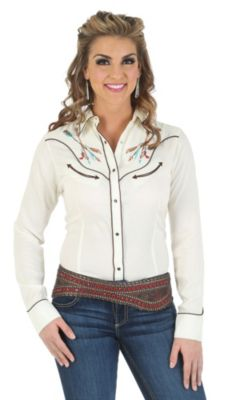 Wrangler cream embroidered shirt